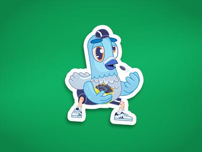 Gopnik Pigeon funny print stickerdesign gopnik illustrator flat stickerpack telegram meme dove pigeon slave slavic squat seeds character bully sticker illustration birds