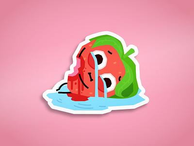 Crying Strawberry printdesign teepubic memes crying cry joke berry fruit food strawberry funny meme stickers stickerpack stickerdesign sticker vector illustrator flat illustration