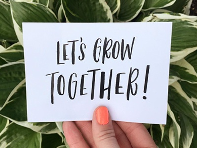 Grow together custom graphic design plants typography design type lettering handlettering