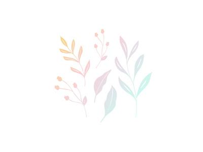 Floral Doodles custom design doodles florals leaves ombre pattern illustration