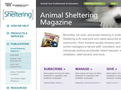 The Humane Society Templates website animals