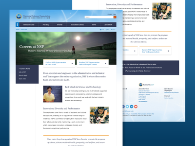 Careers Homepage for the National Science Foundation design website