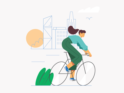 Authentic Self Illustration website birds clouds san fran buildings street girl sun sunrise morning riding bicycle illustration character 2d