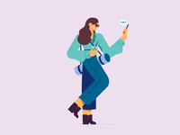 Busy Monday website design illustrator modern glasses boss girl woman juice chatting working out healthy yoga work walking business character flat illustration 2d