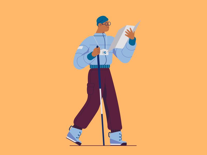 Hiking website illustration app illustration map mountain hiking 2d flat vector character illustration