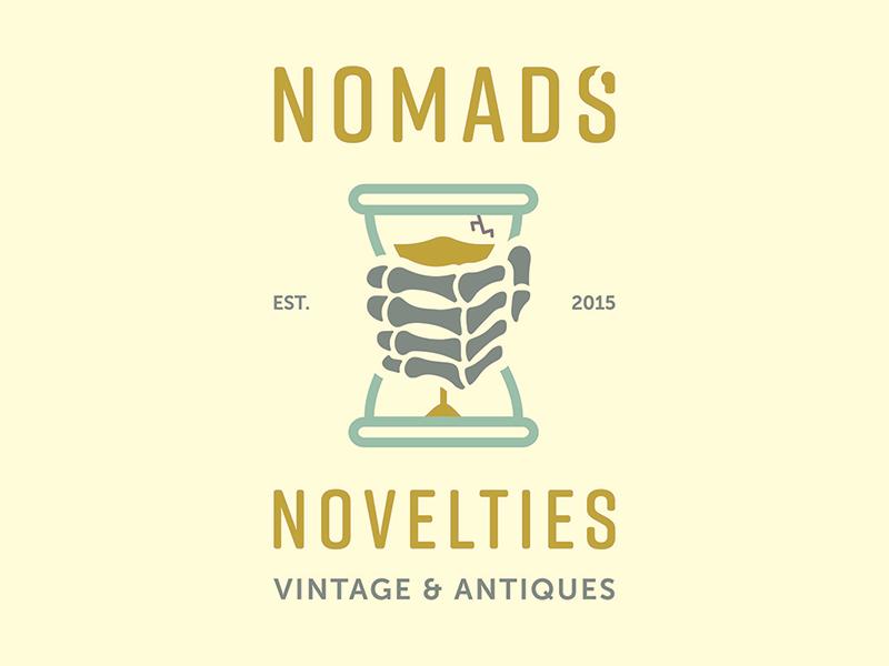 Nomads' Novelties Logo Concept hourglass skeletonhand lightcolorpalette thriftshop vintage logoconcept logo