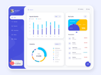 My Wallet Application dashboard minimal design violet cards barchart pie chart app spends ux ui light rounded account bank finance wallet