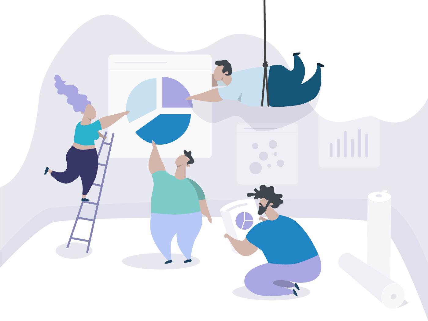Backstage of Dashboard design backstage violet teamwork team sketch ui web character vector minimal dashboard illustration