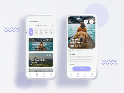 Trip Advisor app booking calendar design minimal light lavender ux ui mobile ios trip traveling travel