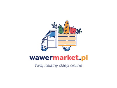 wawermarket.pl vegetables delivery branding market line art sign logo design mopped logo