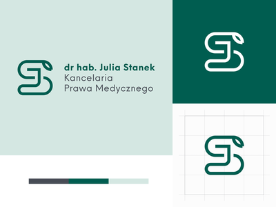 Medical Law Office Julia Stanek branding js snake medical law logotype logo