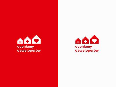 We Evaluate Developers Logo (in English) heart minus plus logodesign rating house logo developer