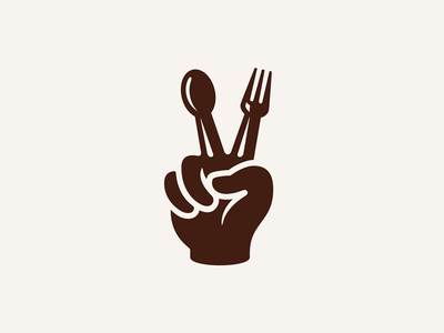 Fork-Spoon-Hand-Victory sign icon logo restaurant victory hand spoon fork