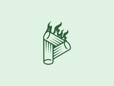 P for Pellet ecology fire pellet logo design