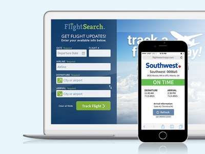 FlightSearch mobile application ui