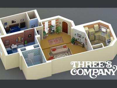 Three's Company Apartment apartment retro 70s 3d