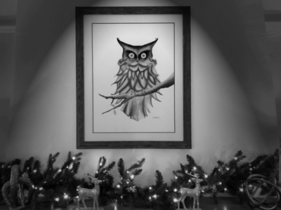 Owl in the night christmas 5th  melody draw charcoal drawing charcoal hand drawn owl drawing
