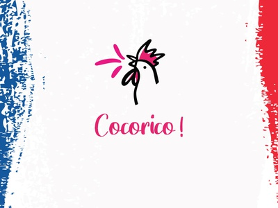 cocorico illustration coq cocorico 14 juillet typo logo