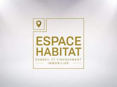 Logo Espace Habitat or carré espace habitat vitrophanie logo