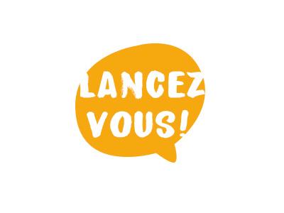 logo Lancez-vous ! hand typo typo dialogue go start lancez-vous bulle logo