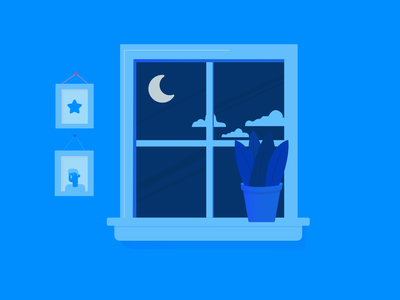A Prior Life light blue night night time illustrator illustration blue window