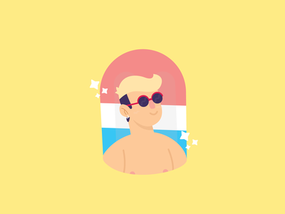 Summer Babe glasses water summertime illustrator illustration man float