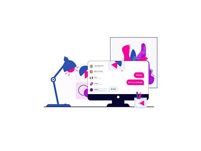 Don't be a stranger group message desktop office illustration