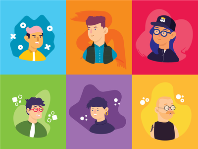 Friends and Colors women men humans people illustration illustration profiles people colors friends