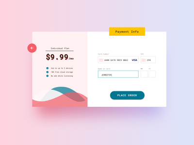 Daily UI 002 - Credit Card Checkout daily ui 002 dailyui subscription web interface checkout credit card