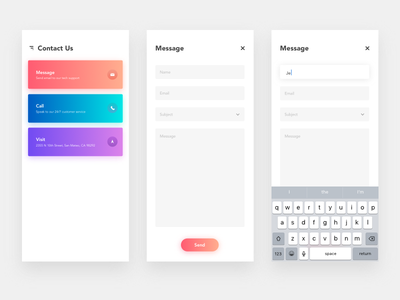 Daily UI - 028 Contact Page ios dailyui contact form app interface daily ui form contact contact page
