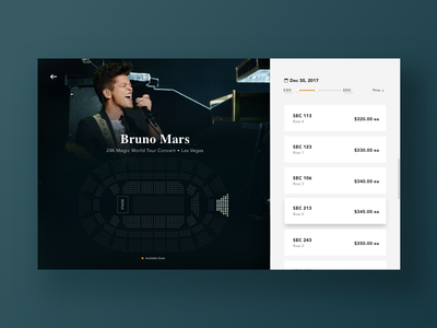 Daily UI - 030 Pricing ux ui interaction concert ticket design challenge web design select seat seat concert pricing dailyui daily ui