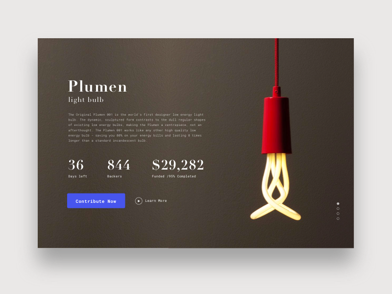Daily UI 032 - Crowdfunding campaign product page ux ui interaction simple design challenge light web campaign crowdfunding dailyui daily ui