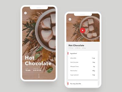 Daily UI-040 Recipe ux ui interaction simple design challenge mobile design hot chocolate app mobile recipe dailyui daily ui