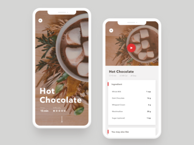 Daily UI-040 Recipe ux ui interaction simple design challenge mobile design hot chocolate app mobile recipe dailyui daily ui