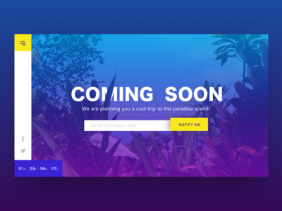 Daily UI - 048 Coming Soon ux ui interaction gradient design challenge coming soon web design travel web dailyui daily ui
