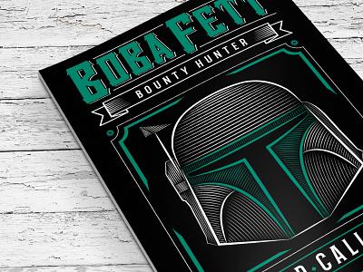 Star Wars Boba Fett Poster bobafett hunter vector typography wars star print poster illustration drawing