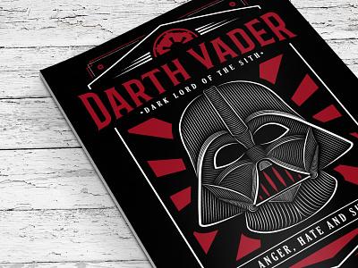 Star Wars Darth Vader Poster drawing illustration poster print star wars typography vector sith darth vader