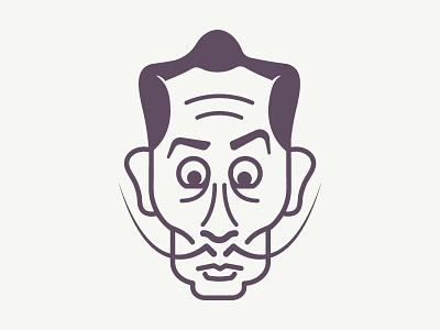 Salvador Dalì mustache illustration vector art salvador dalì mustache