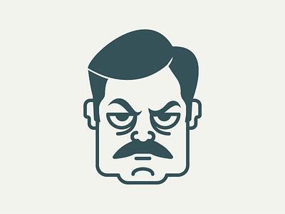 Ron Swanson mustache vector swanson ron offerman nick mustache illustration art