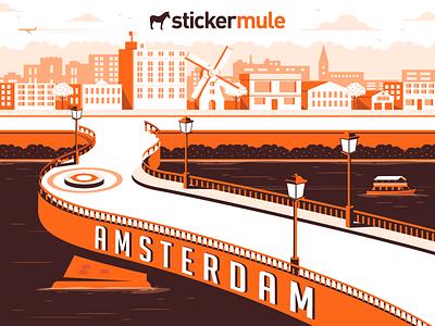 City of Amsterdam, NY cityscape city landscape bridge new york amsterdam art design vector illustration