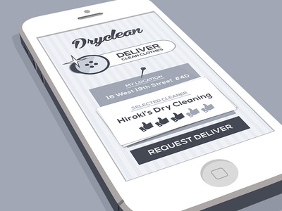 DryCleaner's App retro iphone app flat minimal clothes shirt button dryclean