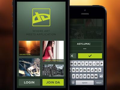deviantART concept / alt. login deviant art deviantart app application mobile iphone android fan concept login