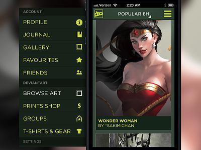 deviantART concept / browsing deviant art deviantart app application mobile iphone android fan concept gallery