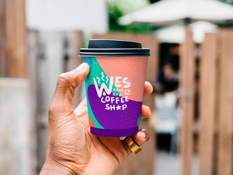 Wes Coffee Shop / Branding art cartoon paper craft mug ali celebi colorful cool logo design coffee logo