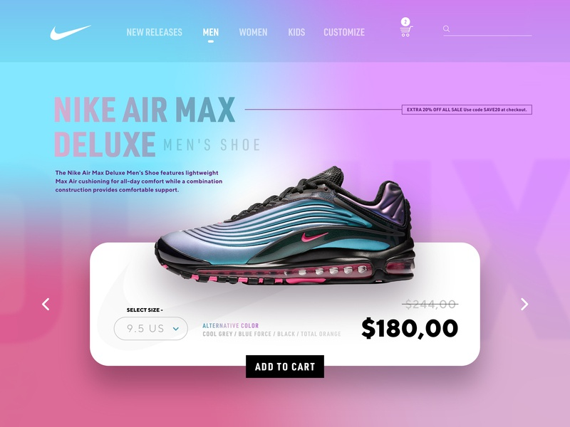Nike Air Max Deluxe - Sale Page ui uidesign app design layout ui guide web cart color gradient shop shopping app sell promo sale shoe nike