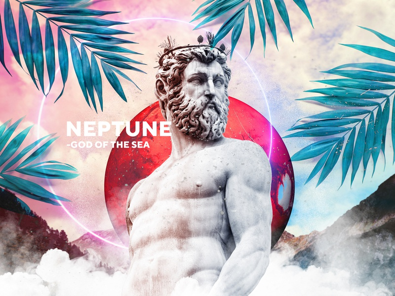 Neptune - God of The Sea glow planet neptune stronger cool design leaf sea god landingpage color statue