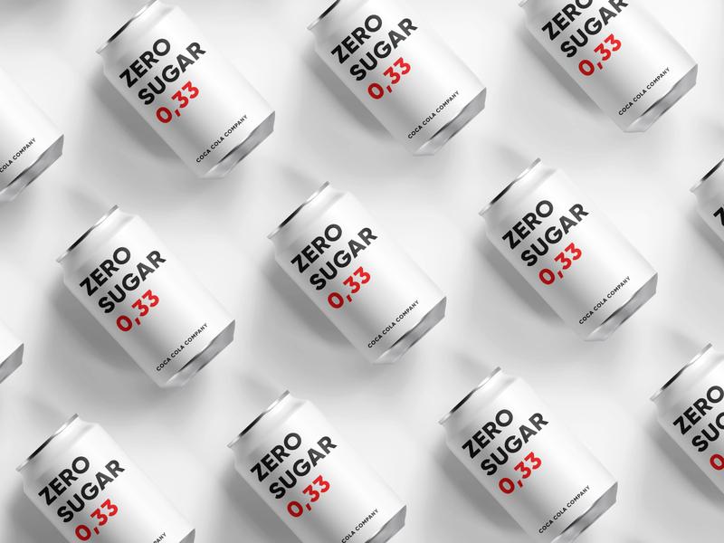 Coca Cola Redesign - Zero Sugar zero zero sugar white thin taste soda simple safety red metal coke coca cola