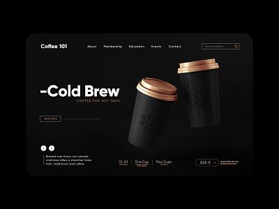 Cold Brew Recipe / Web UI bronze cold uidesign web design search bar sale info mug homepage landing page web ux ui design istanbul cold brew coffee recipe