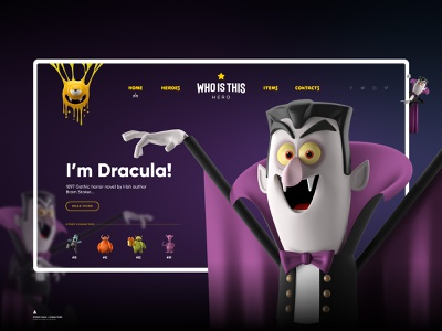 Who is this hero - Dracula / Landing Page gradient color 3d character monster dracula vampire button toolbar main web page adobe xd design ux ui