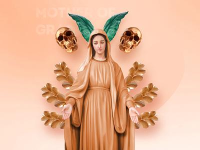 Mother Of Grace / Gold Edition 3d art illustration color web uidesign design ui god jesus skull leaf grace gold